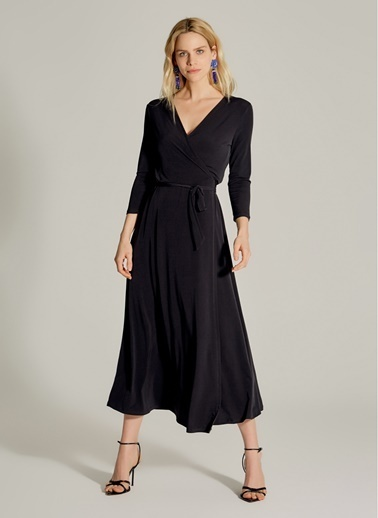 NGSTYLE Kruvaze Örme Elbise Siyah